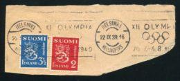 1940 OLYMPICS POSTMARK FROM FINLAND - Hockey (Ice)