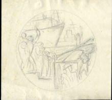 ISRAEL ARTIST SKETCH 1950 INDEPENDENCE - Old Paper