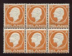 ICELAND 1911 SIGURDSON 25a BLOCK OF 6 - MNH! - Iceland