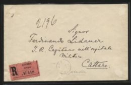 MONTENEGRO RARE 1896 REGISTERED COVER TO CATTARO, ITALY - Europe (Other)