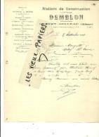 02 - Aisne - GIVRY-BELLEAU - Facture DEMBLON - Ateliers De Construction – 1909 - REF 45C - France