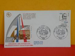 FDC- Création Des Syndicats Proffessionnels, Pierre Waldeck Rousseau - Paris - 22.3.1984 - 1er Jour - Coté 2 € - FDC