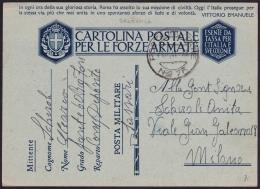 F.EX.2086 ITALY ITALIA MILITAR POST SPECIAL CARD 1941. - 1900-44 Vittorio Emanuele III