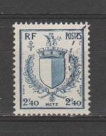 FRANCE / 1945 / Y&T N° 734 : Blason De Metz - Choisi - Cachet Rond