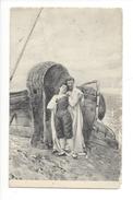 15721 - Couple Devant Panier En Osier Et Barque - Autres