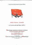 La Commune De Paris, Dossier Pédagogique Et Historique De 12 Pages (format A4) édité Par La Province De Hainaut - Learning Cards