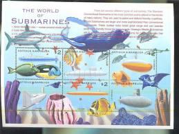 ANTIGUA & BARBUDA  2404  MINT NEVER HINGED MINI SHEET OF FISH-MARINE LIFE  SUBMARINES - Pesci