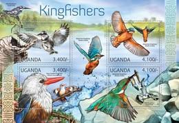 Uganda 2012, Animals, Birds, Kingfishers, 4val In BF