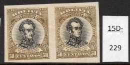 Bolivia 1910 (Dec) 50c Sucre IMPERF PAIR (SG 120 Variety). Mint-see Text. Scarce