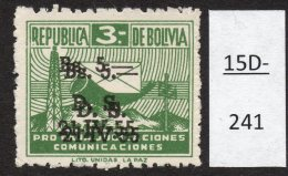 Bolivia 1955 Obligatory Tax Bs5/Bs3 Posthorn Radio Transmitter Variety Surcharge Double (SG 606 Var) MH - Bolivia
