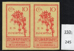 Bolivia 1925 Independence 10c Kantuta Flower IMPERF PAIR, MH. (SG 185 Variety)
