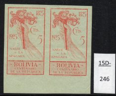 Bolivia 1925 Independence 5c Torch Of Freedom IMPERF PAIR, MH. (SG 184 Variety)