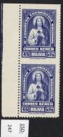 Bolivia 1939 Eucharist 45c Imperf Between Pair.   (Sanabria 95a, SG 366a). MNH.