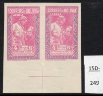 Bolivia 1948 Catholic Education Bs.4.- IMPERF PAIR, Crease, MNH . (SG 480a, Sanabria 144a) - Bolivia