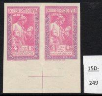 Bolivia 1948 Catholic Education Bs.4.- IMPERF PAIR, Crease, MNH . (SG 480a, Sanabria 144a)