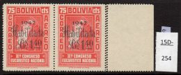 Bolivia  1947 Habilitada BS1.40/75c St. Anthony Of Padua With Double Perf Variety / Error (SG 455 Var) MNH - Bolivia