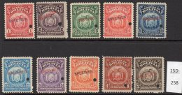 Bolivia 1919-20 ABN Co. Arms Set/10 Optd SPECIMEN (and Punch) MNH – Fine And Fresh.