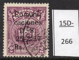 Bolivia  1937 1Bs/2Bs With Variety Figure 1 OMITTED (SG 313a) Used.