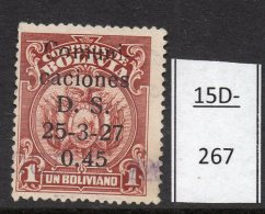 Bolivia  1937 45c/1Bs With Variety 27 For 37. Used.  (SG 312 Variety)