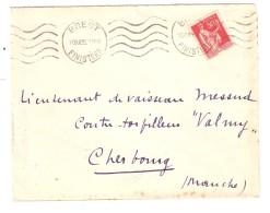 Lettre BREST Finistère Obl Mécanique S PAIX  50 C Rouge 1935 > Lieutenant Vaisseau Contre Torpilleur VALMY Cherbourg - Marcofilie (Brieven)