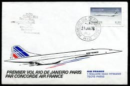 """Brasilien 1976 First Flight Cover Concorde Mit Mi.Nr.1521 Und SST""""Rio De Janeiro-Paris """" 1 Beleg"""