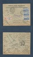 Czechoslovakia. 1927 (12 Oct) Steinschonau - Germany, Hamburg (13 Oct) Registered Multifkd Reverse Map Ilustrated Envelo