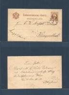 Czechoslovakia. 1881 (6 March) Graslitz / Kraslice - Germany, Klingenthal, Sachsen. 2kr Austria Provicence Stat Card, Cd