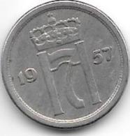 Norway 25 Ore 1957 Km 401, Xf - Norvège