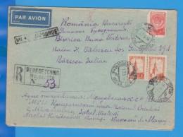RECOMMENDED ENVELOPE PAR AVION PERESECINO  RUSSIA URSS CCCP MOLDOVA SEND ROMANIA 1958