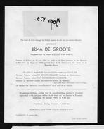 Devotie Doodsbrief Rouwbrief - Irma De Groote - Bellem 1891 - Ruiselede 1965 - Obituary Notices