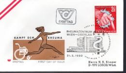 AUTRICHE    FDC    1980  Main Rhumatisme Handicapés
