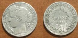 1887 - France - 1 FRANC, CERES, (A), Argent, Silver, KM 822.1, Gad 465a - France