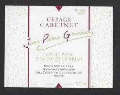 Etiquette De Vin De Pays Des Cotes Du Brian  1994 -  JP Girardeau Crève Coeur   Le Vieil Baugé  (49) - Unclassified