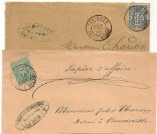 SAGE TANINGES Haute Savoie Sur 2 Devants D'enveloppe CHOUPIN Huissier. - 1876-1898 Sage (Type II)