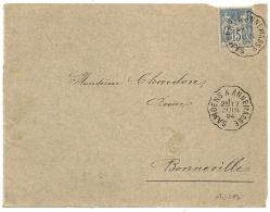 Convoyeur SAMOENS A ANNEMASSE  Haute Savoie Sur Devant D'enveloppe Au Type SAGE. L2 - 1876-1898 Sage (Type II)