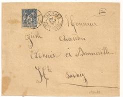 TANINGE Haute Savoie Sur Devant D'enveloppe Au Type SAGE. Boite A Non Identifiée. L2 - 1876-1898 Sage (Type II)