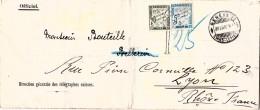 1910 SUISSE DIRECTION GENERALE DES TELEGRAPHES SUISSES GENEVE POUR LA FRANCE TAXE 25c  / 7902 - Schweiz