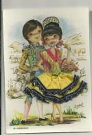 Carte Brodée Couple Andalou, Matador. Signée Isabel. 42 Andalucia - Bestickt