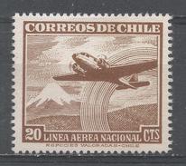 Chile 1954. Scott #C155 (M) Plane Over Snow-capped Mountain - Chili