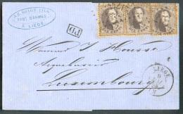 ARMES - WEAPONS - Belgium N°14B(3) - Médaillons 10 Centimes Burns (x3) Obl. LP.217 Sur Lettre De LIEGE ((en-tête J.B. RO - Usines & Industries