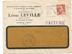 GANDON 12FR SEUL FACTURE A FENETRE PARIS 1953 POUR ST PIERRE ET MIQUELON C. ARRIVEE