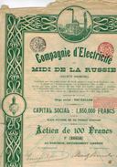 COMPAGNIE D ELECTRICITE DE U MIDI DE LA RUSSIE - Electricité & Gaz