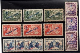 AG-91: INDE:  Surchargé FRANCE LIBRE  171*(3)-173*(3)-174*(4)-182*(3) - Inde (1892-1954)