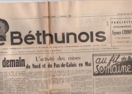 Journal LE BETHUNOIS 30/6/1951 Complet 4 Pages Format 60 X 43 Cm - Bon état Avec Bande Envoi - Journaux - Quotidiens