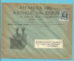 "193 Op Brief Met Stempel CHARLEROI , Geillustreerd ""APPAREILS DE TENSION ANODIQUE / VALENTIN / COUILLET (Lampes) - 1922-1927 Houyoux"