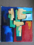 Tableau Cubiste Acrylique Sur Toile Libre 60cm X 68cm Signé Au Dos - Acrilici