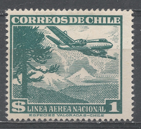 Chile 1955. Scott #C158 (M) Araucarian Pine And Plane - Chili