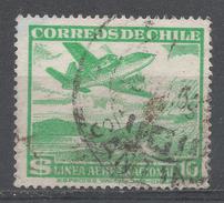 Chile 1951. Scott #C163 (U) Plane Over Mountain Lake - Chili