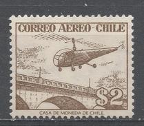 Chile 1956. Scott #C175 (M) Helicopter Over Bridge - Chili