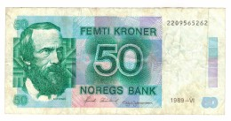 Lowered!!!! Norway 50 Kr. 1989, VF . Free Ship. To USA - Norway